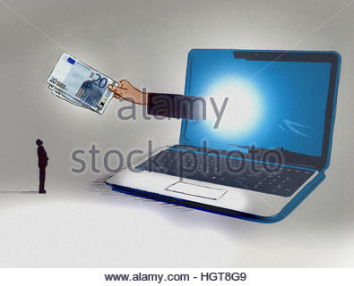 Businessman looking up at hand emerging from computer screen holding twenty euro notes - Stock Image