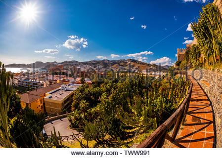 Cactus Garden, Castillo San Miguel, Almunecar, Costa Tropical, Granada Province, Andalusia, Spain. - Stock Image