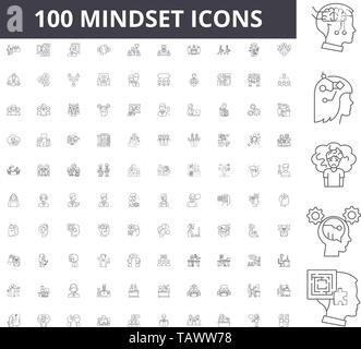 Mindset line icons, signs, vector set, outline illustration concept  - Stock Image
