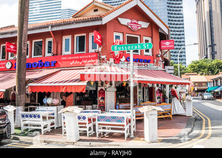Singapore - 22nd December 2018: Lebanese restaurant in the Arab Quarter. This is in the Kampong Glam area - Stock Image