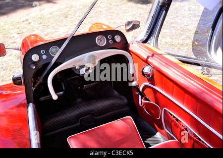 Interior view of the three-wheeled Messerschmitt KR200, or Kabinenroller (Cabin Scooter), produced between 1955 - Stock Image