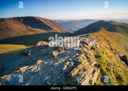 Looking towards Grasmoor and Whiteside from the summit of Hopegill Head at sunset in the Lake District - Stock Image