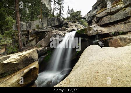 Waterfall in Yosemite National Park, California, USA - Stock Image