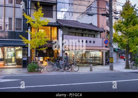 Evening walk at Teramachi-Dori shopping street, Kyoto, Honshu, Japan - Stock Image