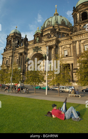 Tourists in front of Berliner Dom, Germany - Stock Image