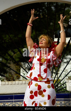 Beautiful blond middle aged Spanish woman in traditional costume Andalucia, Costa del Sol, Spain, Europe, - Stock Image