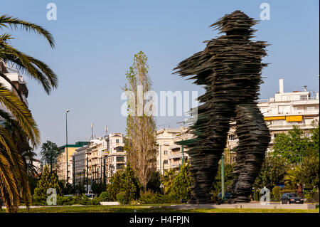 Athens, Greece.The 'Running Man', a sculpture made of glass. - Stock Image