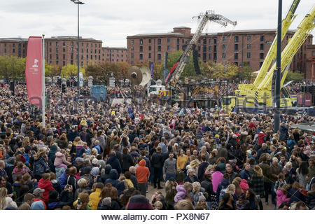 Crowds watching the finale of the Giants Spectacular parade in front of the Albert Dock in Liverpool city centre UK - Stock Image