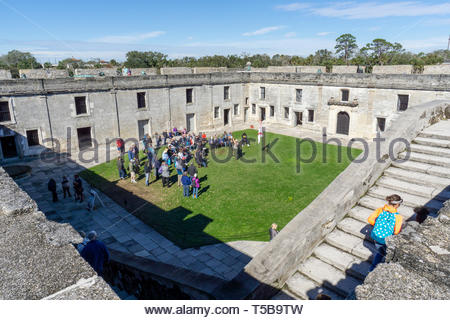 A park ranger gives an historical lecture at the Castillo de San Marcos, a Spanish fortification at St. Augustine, Florida USA - Stock Image