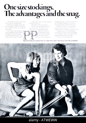 1960s Nova Magazine October 1968 Advertisement for Pretty Polly Leprechauns One Size Stockings FOR EDITORIAL USE - Stock Image