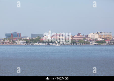 The waterfront in Charleston, South Carolina, USA. The city fronts the Cooper River and is nicknamed both the Holy City and the River City. - Stock Image