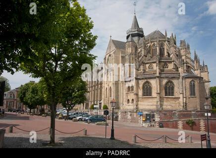 Norman gothic Eu Cathedral aka Collegiate church of Notre Dame c.1180 Eu, Seine Maritime, north Normandy, France - Stock Image