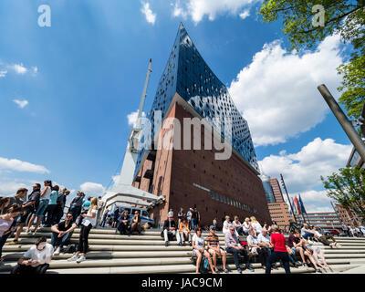 Elbphilharmonie Hamburg, concert hall at river Elbe on top of historic warehouse, Hafencity, hanseatic city, Hamburg, - Stock Image