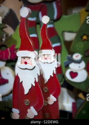 Santa figures xmas decoration - Stock Image