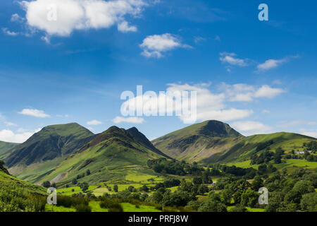 Newlands valley Cumbria, looking south-west from Littletown towards Scope End with Hindscarth beyond it. The peak to their right is Robinson. - Stock Image