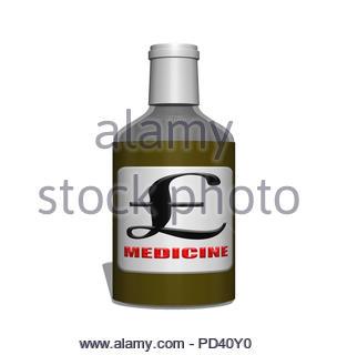 Digital Illustration - Bottle of medicine with pound symbol - Stock Image