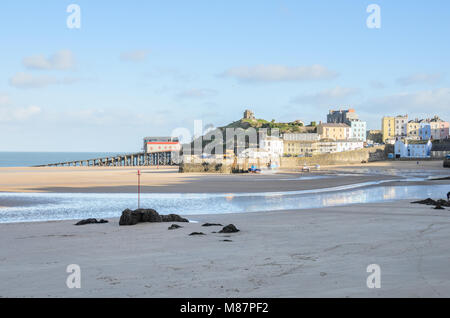 Tenby Lifeboat Station on Tenby Beach in Pembrokeshire, South Wales - Stock Image
