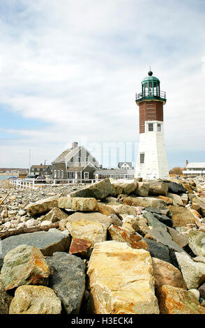 Scituate Lighthouse is located on Boston's South Shore its name derived from the Indian word for 'cold brook'. - Stock Image