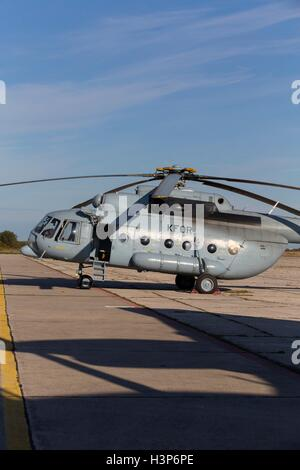 KFOR HRZ helicopter Mi-17 Sh parked vertical - Stock Image