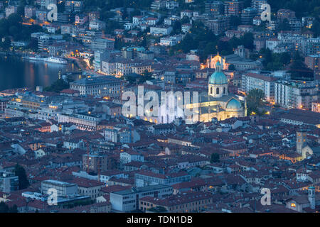 Como - The city with the Cathedral and lake Como. - Stock Image