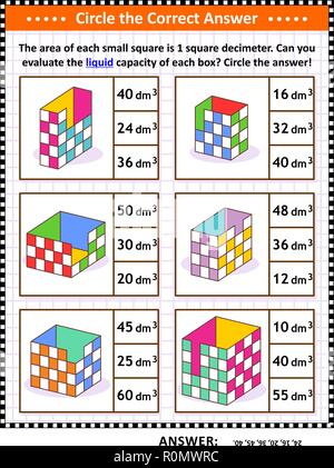 Math skills and IQ training visual puzzle or worksheet. Evaluate the liquid capacity of each box.  Circle the correct answer. Answer included. - Stock Image