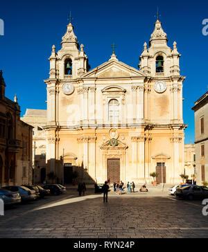 St. Paul's cathedral, Mdina, Malta, - Stock Image