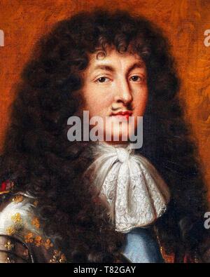 Louis XIV in armour (detail), portrait after Pierre Mignard, c. 1700 - Stock Image