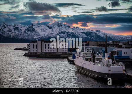 Sunset over Sortland, Lofoten Islands, Norway. - Stock Image