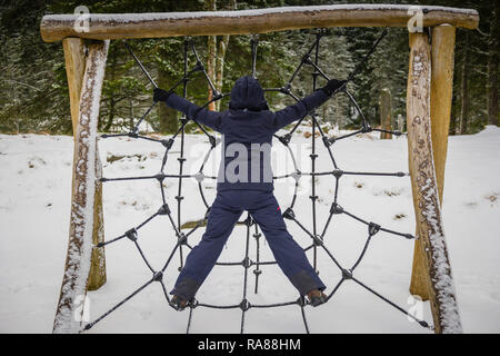 Spiders web climbing frame, Mount Floyen, Bergen, Norway. - Stock Image