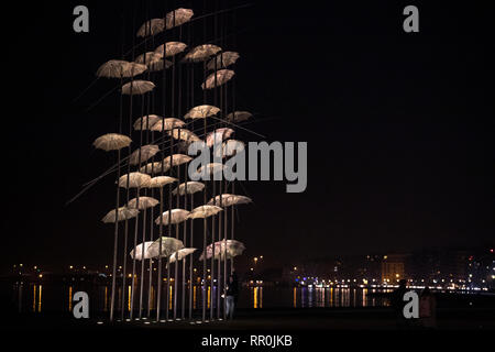 The sculpture Umbrellas by the Greek artist George Zongolopoulos at the seafront promenade of Thessaloniki, Greece on January 18, 2019. - Stock Image