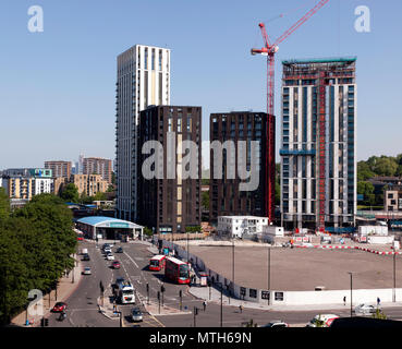 The Lewisham Gateway Development  which now occupies the site of the former Lewisham Roundabout at the junction of A20 the A21, A2210 and the A2211. - Stock Image