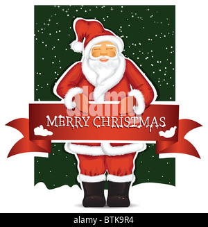 Santa Claus with christmas banner - Stock Image