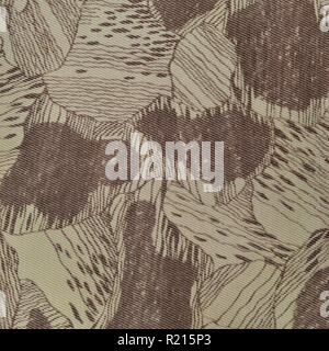 Custom camouflage texture pattern vertical pale green tan taupe brown textured camo background old aged weathered cotton twill fabric field work parka - Stock Image