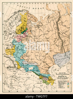 Map of Russian territory acquired under Peter I and later tsars. Color lithograph - Stock Image