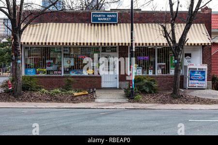 CHARLOTTE, NC, USA-1/8/19: Fourth Ward Market, Graham St., uptown. - Stock Image