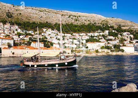 Sailboat in Old City Marina, Dubrovnik - Stock Image