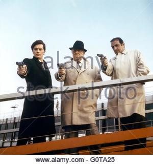 Alain Delon, Jean Gabin and Lino Ventura   / The Sicilian Clan / 1969 directed by Henri Verneuil  (Les Productions - Stock Image