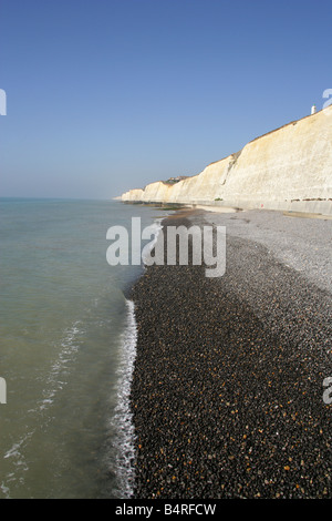 Beach and Chalk Cliffs at Peacehaven, East Sussex, UK - Stock Image