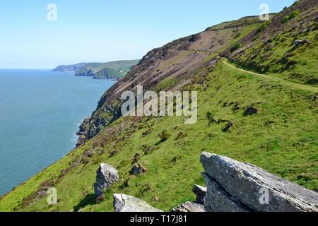 Track leading away from Heddon Valley, along the Devon coastline, Devon, UK - Stock Image