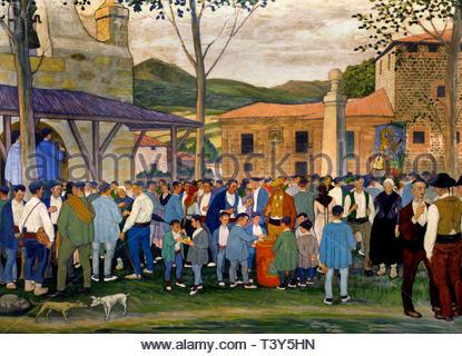 Village Festival in the Square 1922 by José Arrue born in1885 Basque Spanish painter by José Arrue born in1885 Basque Spanish painter - Stock Image