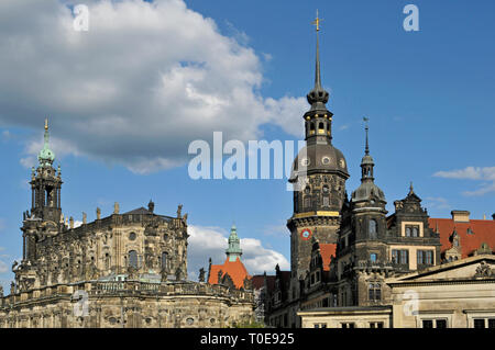 Hofkirche, Hausmannsturm tower and  part of Residenzschloss Dresden Castle (Schloss Dresden) in Dresden, Germany. - Stock Image