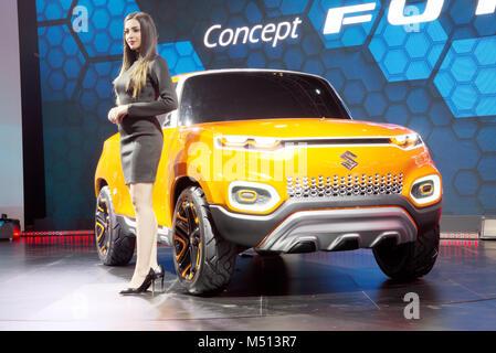 Greater Noida, India. 14th February 2018. Maruti Suzuki showcase their Concept Future S car at Auto Expo 2018 in - Stock Image