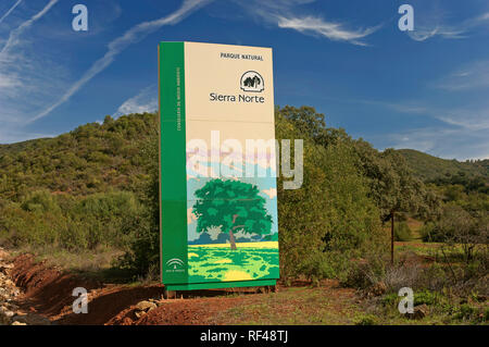 Sierra Norte Natural Park - Signage poster. San Nicolas del Puerto. Seville province. Region of Andalusia. Spain. Europe - Stock Image