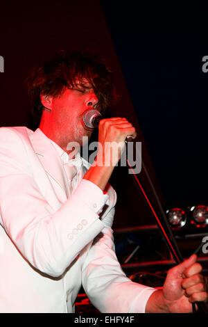 Liars live at Field Day festival in Victoria Park London. - Stock Image