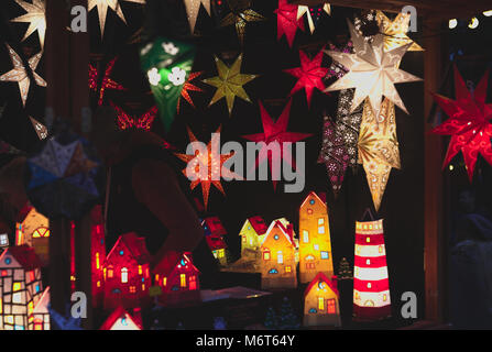 Hut selling lamps on christmas market in Cologne - Stock Image