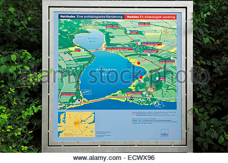 Sign shows hiking trail around the Haddebyer and Selker Noors, including ancient Viking market town of Haithabu - Stock Image
