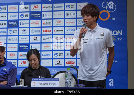 Elite Takumi Hojo: May 16, 2019, Yokohama, Japan: Press Conference for the 2019 ITU World Triathlon and Paratriathlon Yokohama at the Monterey Hotel in Yokohama, Japan. The race will be held on May 18-19 2019 near Yamashita Park in Yokohama. Credit: Michael Steinebach/AFLO/Alamy Live News - Stock Image