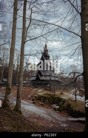 Fantoft Stave Church, Bergen, Norway. Rebuilt after being moved from Fortun - Stock Image