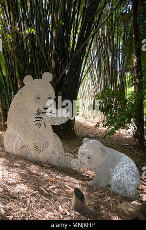 Panda sculptures decorate a bamboo grove in the Mt Coot-tha Botanic Gardens, Brisbane, Queensland, Australia - Stock Image