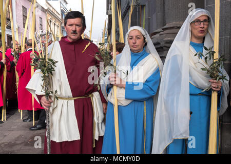 Tenerife, Canary Islands, Church officials on the Palm Sunday Holy Week procession in the town of Laguna. - Stock Image